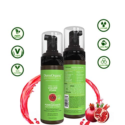 DermOrganic Firm Hold Volume Foam with Pomegranate Anti-Fade Extract - Alcohol-Free, 5 fl.oz. 4