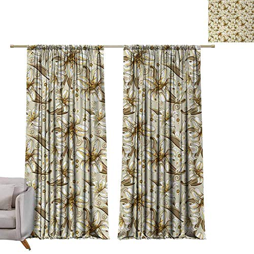 Thermal Insulated Room Darkening Window Shade Beige,Wild Distressed Lilies Floral Background Blooming Petals Bouquet Nature Theme,White Yellow Beige W108 x L84 Blackout Window Curtain Panel (Shade Beige Lily)