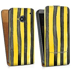 Diseño para HTC One M7 DesignTasche Downflip black - Streifen verrutscht