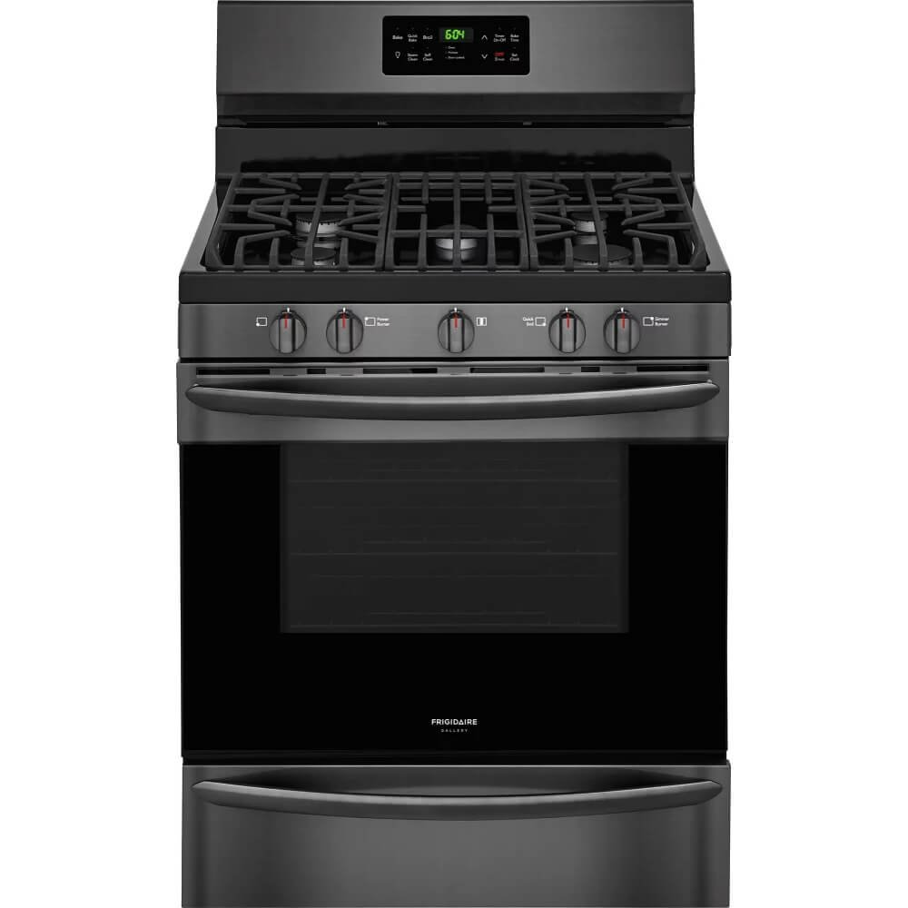 "Frigidaire FGGF3036TD Gallery Series 30"" Gas Freestanding Range with Sealed Burner Cooktop, Storage, 5 cu. ft. Primary Oven Capacity, in Black Stainless Steel"