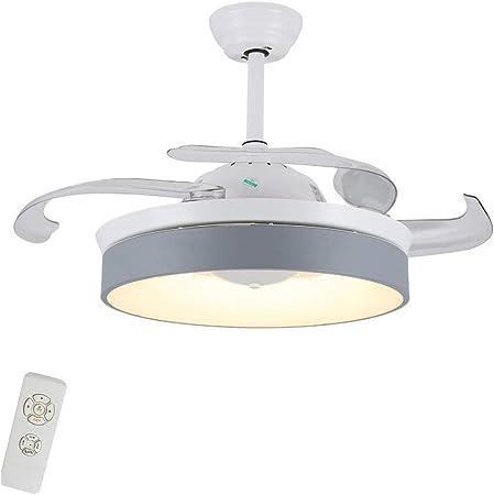 Ventilador for el hogar Dormitorio en la Sala de Estar, Ventilador silencioso, luz, habitación for niños Ventilador LED con luz (Color : Blanco, Size : 106 * 40cm ...