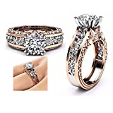 Gbell Fashion Romantic Cubic Zirconia Floral Statement Rings for Women - Ladies Rose Gold Silver Wedding Rings Engagement Jewelry Daily Life Gifts,Size 5 6 7 8 9 10 11