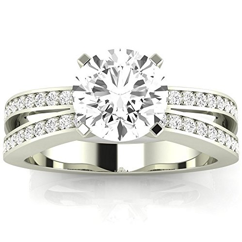 Houston Diamond District Platinum 1 CTW Round Cut Contemporary Double Row Split Shank Engagement Ring, J Color SI1-SI2 Clarity Center Stone from Houston Diamond District