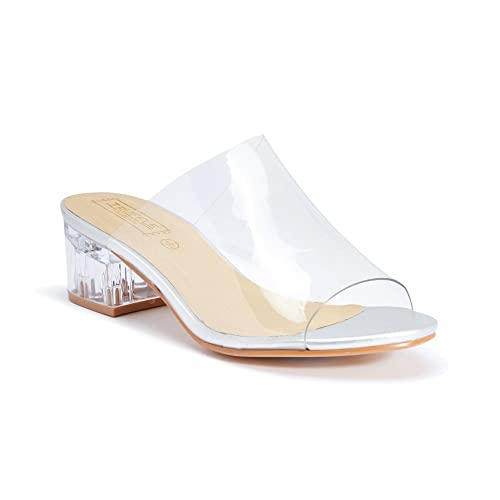 5a173313c1ec TRUFFLE COLLECTION Women White Block Heels  Buy Online at Low Prices in  India - Amazon.in