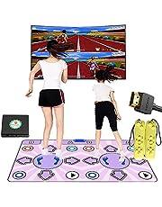 Dubbele dansmat voor tv met HDMI, zelf-update antislip draadloze dubbele danspad met Engelse handleiding, dansmuziek spel voor kinderen jongens meisjes 6-13 jaar oud, speelmatten ingebouwde retro FC Arcade Games
