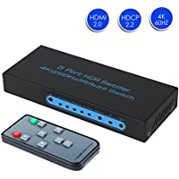 4K@60Hz HDMI Switch 5x1 FiveHome 5 Port HDMI Switcher Support Auto Switch with IR Wireless Remote,HDMI 2.0, HDCP 2.2,Full HD/3D