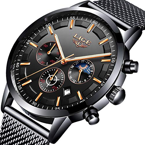 Men Black Gold Watch Fashion Casual Formal Dress Waterproof Luxury Brand LIGE Classic Quartz Multi-Function Chronograph Display Date Luminous Watch ()