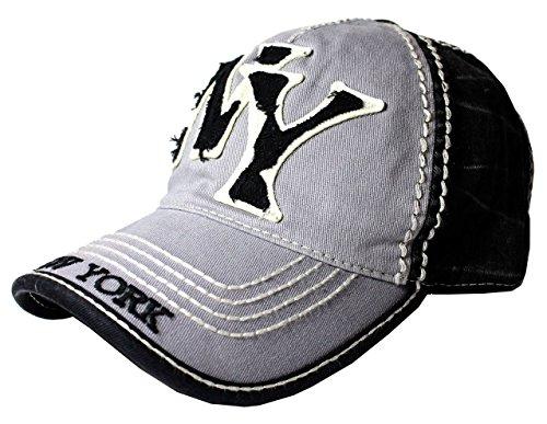 Robin Ruth NY NY Vintage Denim Cotton Hat Baseball Cap Black/Gray]()