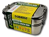 Plastic Free Stainless Steel Lunch Container by GRUB2GO + FREE BENTO FOOD IDEAS GUIDE | Premium 3-Layer 1600 ML Metal Tiffin Bento Box