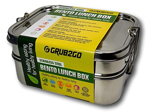 Stainless Steel Lunch Container by GRUB2GO + FREE BENTO FOOD IDEAS GUIDE | Premium 3-Layer 1600 ML Metal Tiffin Bento ()