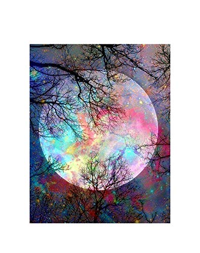 (DIY Landscape Diamond Painting Full Drill Round/Square Trees Rhinestones Embroidery,Purple,3020cm Full Round)