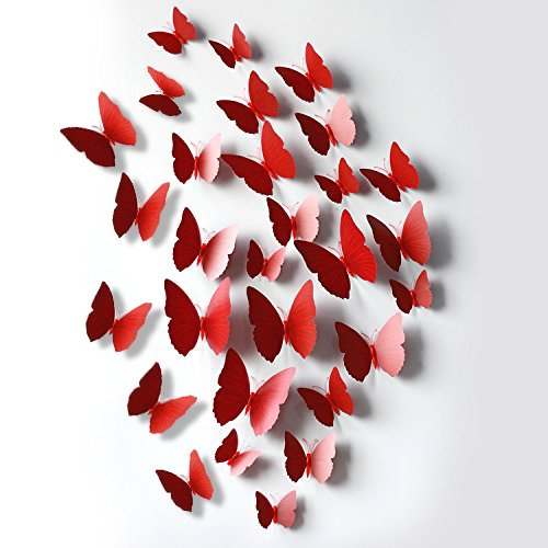 FLY SPRAY Creative 24pcs Vivid Red Butterfly Mural Decor Removable Wall Stickers with Adhesive Decals Nursery Decoration 3D (Homemade Halloween Decoration Ideas For Outside)