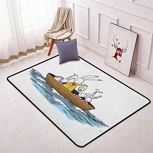 Kids Super Soft Round Home Carpet Cartoon Style Hare Family and a Hedgehog on a Sea Adventure Little Birds and Lantern for Sofa Living Room W35.4 x L47.2 Inch Multicolor ()