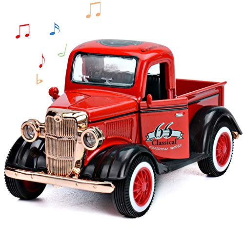 CORPER TOYS Pull Back Vintage Car Diecast Classic Pickup Truck Retro Style Model with Music and Light Openable Door for Kids (Red) …