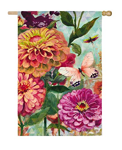 Evergreen Flag Zinnia Satin House Flag, 29 x 43 inches