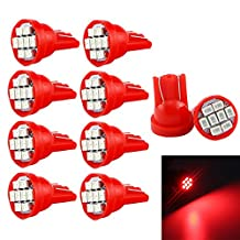Grandview Red T10 LED Car Light Bulbs W5W 194 192 168 2825 Wedge 8-SMD 1206 LED Car Replacement Bulbs Side Marker Dome Map Interior Lamps Auto Car Truck LED Light 12V 10-Pack