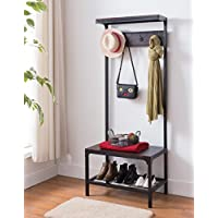 Espresso Industrial Look Entryway Shoe Bench with Coat Rack Hall Tree Storage Organizer 8 Hooks in Black Metal Finish