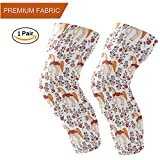 Naanle Beautiful Unicorn Pattern Basketball Knee/Elbow/Shin Pad Compression Long Sleeve Athletic Crashproof Protector Gear, Girls & Women, Sold as 2 Sleeves