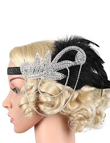[Flapper Girl Silver 1920s Headpiece Vintage Headband Flapper Great Gatsby Costume (Black)] (Black And Silver Beaded Flapper Headband)