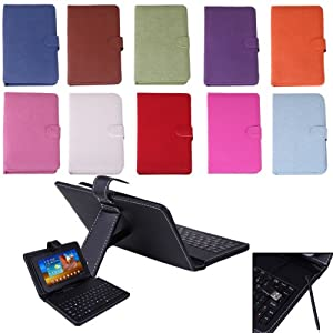 hde 7 tablet stand with usb keyboard black faux leather carrying case computers. Black Bedroom Furniture Sets. Home Design Ideas