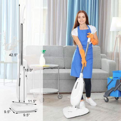 HTH STORE Electric Steam Mop Cleaner Steamer Floor Carpet Cleaning Machine White Cleaning Product