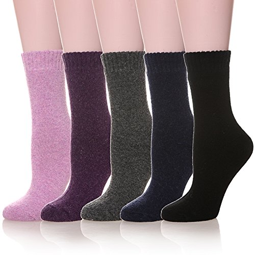 (Womens 5 Pairs Soft Comfort Thick Casual Cotton Warm Wool Crew Winter Socks (5 Pack Solid color C))