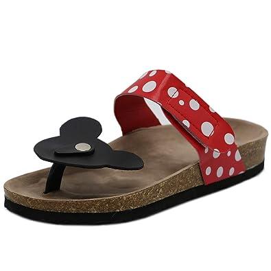 TAOFFEN Damen Disney Mickey Mouse Dote Flip Flops Gemutlich Flach Sandalen Red Gr 37 Asian