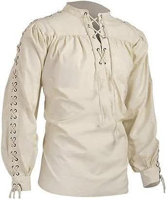 Shujin Camisa medieval para hombre, camisa con cordones, Cosplay, camisa con volantes, gótica, steampunk, victoriano, manga larga, tops de encaje para ...