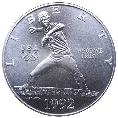 - 1992 D Olympic Baseball Commemorative Silver Dollar $1 Brilliant Uncirculated US Mint