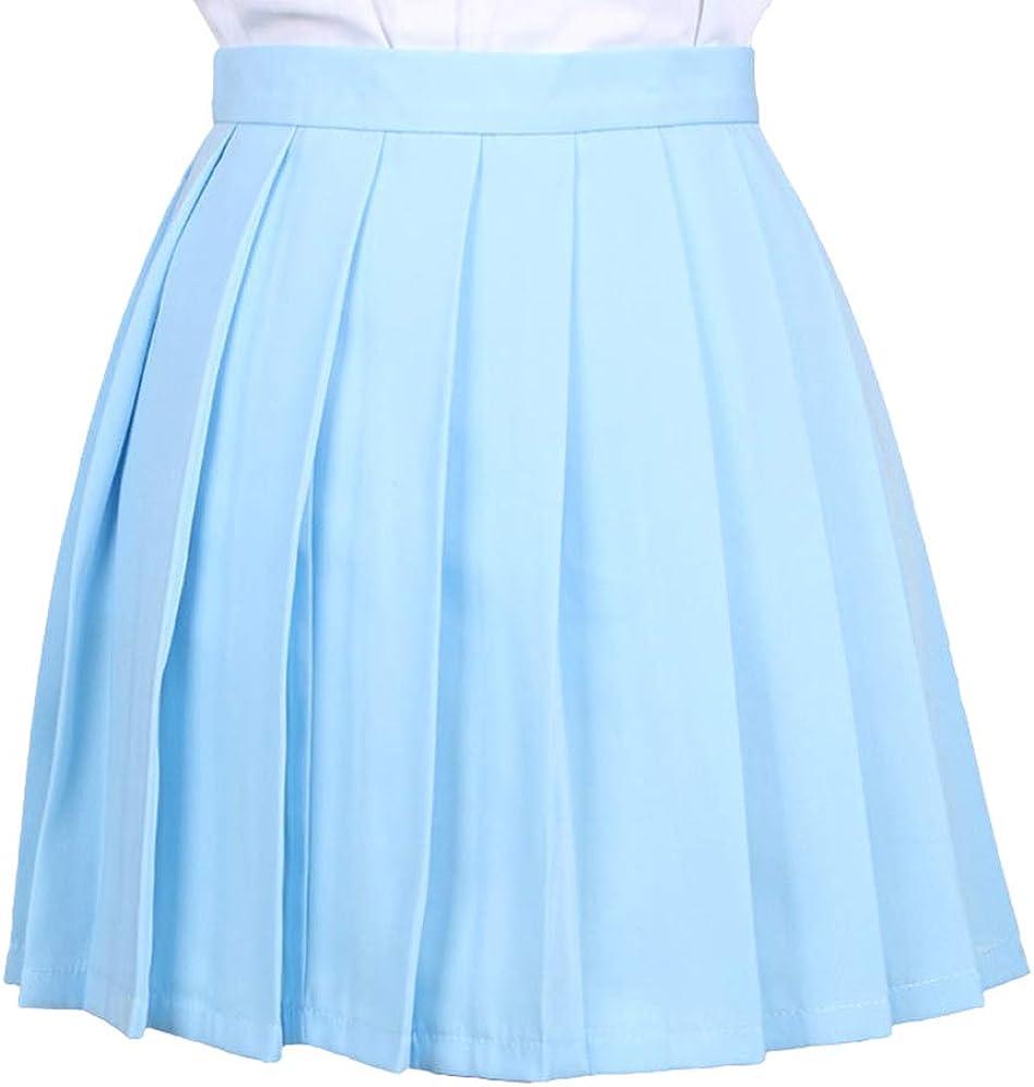 Yying Mujeres Retro Mini Falda Plisada Niñas Elástico Falda Corta ...