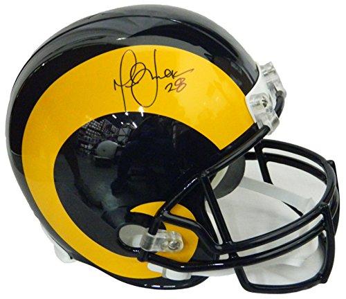 (Marshall Faulk Signed Rams Throwback Riddell Full Size Replica Helmet)