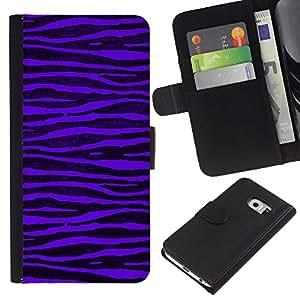 EJOY---La carpeta del tirón la caja de cuero de alta calidad de la PU Caso protector / Samsung Galaxy S6 EDGE / --Purple Zebra Stripes Negro vibrante