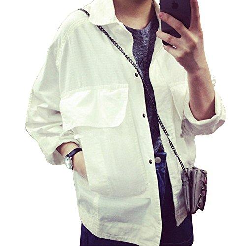 Mujer Mezclilla Chaqueta De Vaqueros De Abrigo Denim Jacket Blanco