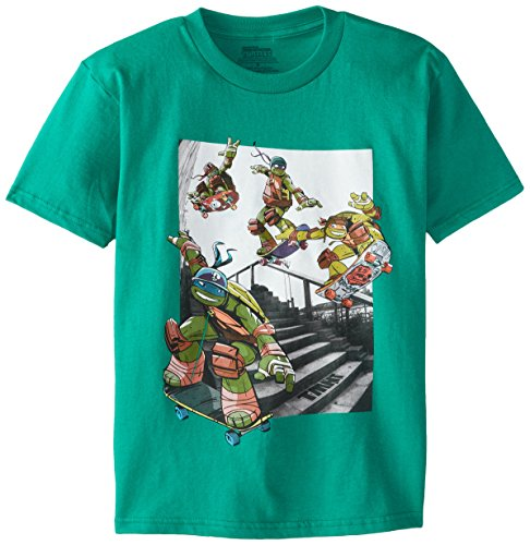 Nickelodeon T-Shirtnage Mutant Ninja Turtles Big Boys' Photoreal T-Shirt Shirt, Kelly Green, Medium/10/12