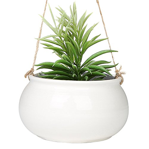 Mediterranean Style Round White Ceramic Hanging 7 inch Planter Pot with Jute Twine String