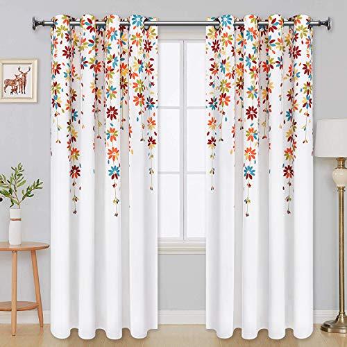 Yastouay Flowers Window Curtain Floral Room Darkening Grommet Curtains 52 × 63 Inches Flower Drapes for Bedroom Living Room, Orange, Set of 2 Panels (Orange Damask Curtains)
