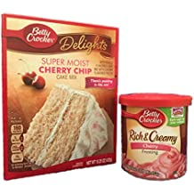 Betty Crocker Cherry Chip Cake Mix and Cherry Frosting Bundle (2 Items)