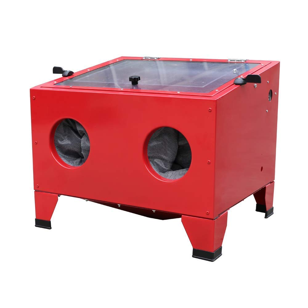 25 Gallon Bench Top Air Sandblasting Cabinet Sandblaster Blast 40-80PSI/5CFM Large Cabinet Red