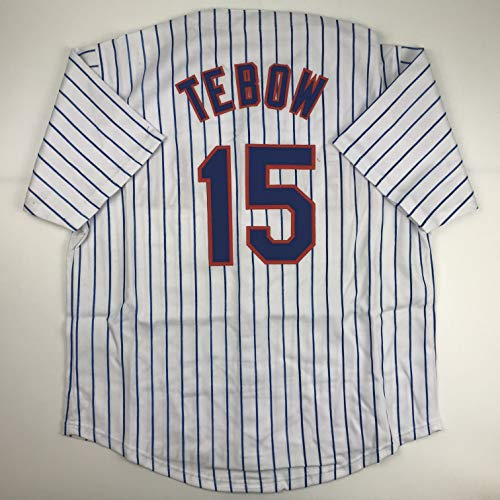 Unsigned Tim Tebow New York Pinstripe Custom Stitched Baseball Jersey Size Men's XL New No - Mlb Pinstripe Replica Mets Jersey