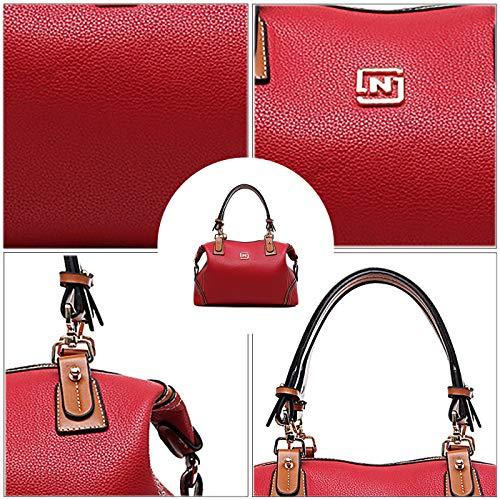 contrasto a mano Coolives Tracolla Borsa Rosso Donna di Boston colore Maniglia a lunga EnEwxFzq8g