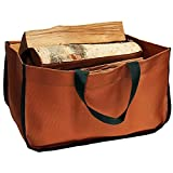American-made Firewood Tote and Carrier (large size 22″ x 12″ x 12″) (9-14) is made of stylish, super-durable corded poly fabric. Pueblo Brown with FOREST GREEN trim. For Sale