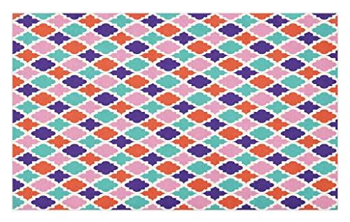 Lunarable Ikat Doormat, Colorful Mosaic Tiles Style Ikat Indonesian Esatern Patterns and Motifs, Decorative Polyester Floor Mat with Non-Skid Backing, 30