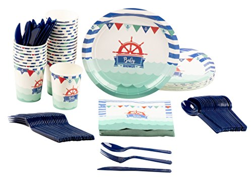 Disposable Dinnerware Set - Serves 24 - Nautical Themed Baby Shower Party Supplies, Includes Plastic Knives, Spoons, Forks, Paper Plates, Napkins, Cups