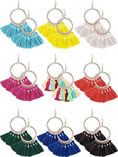 9 Pairs Tassel Hoop Earrings Bohemia Fan Shape Drop Earrings Dangle Hook Eardrop for Women Girls Party Bohemia Dress Accessory (Multicolor ()