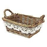 Wicker Basket - Woven Fruit Basket, Storage Basket for Food, Picnics, Vintage Decoration, Brown - 8.5 x 3.5 x 5.5 Inches