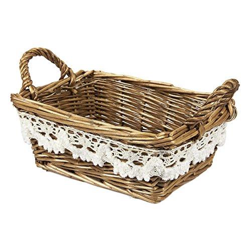 Juvale Wicker Basket - Small Woven Fruit Basket, Storage Basket Food, Picnics, Vintage Decoration, Brown - 8.5 x 5.5 x 3.5 inches ()