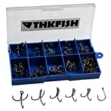 103X Mixed #3/#4/#5/#6#7/#8/#9/#10/#11 12 Sizes Carbon Black Treble Fishhook Treble Fishing Hooks With Box by thkfish