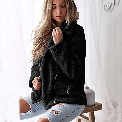 Elegante Pelliccia Il Schwarz Manica Risvolto Cappotto Calda Sintetica Da Moda Unita Per Pile Donna In Parka Invernale Tempo Gestante Lunga Vintage Libero Giacca Outwear Tinta L543ARj