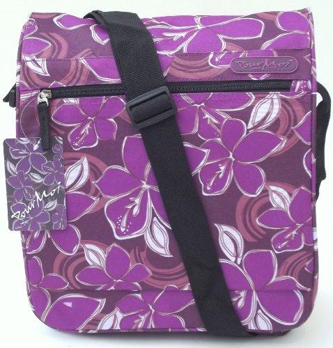 Púrpura bolso de hombro brillante o niñas bolsa. Bolsa de viaje CABINA APROBADO estampado floral