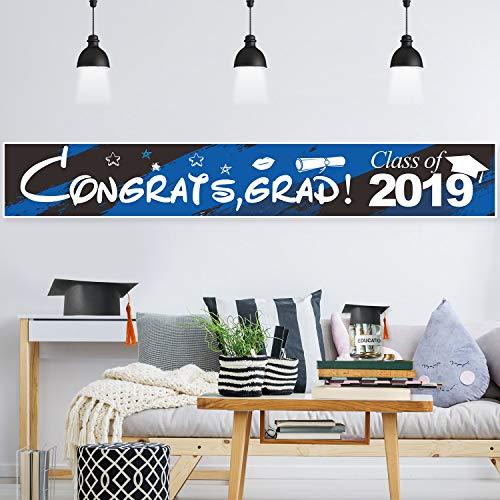 Blulu Graduation Party Decorations Graduation Banner Supplies 2019 - Congrats Grad Graduation Backdrop Photo Booth Wall Party Decor (Blue and Black, Congrats Grad 2019)